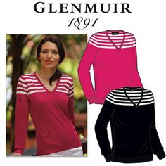 2013 Ladies GLENMUIR Olivia Striped Pullover Golf Sweater.