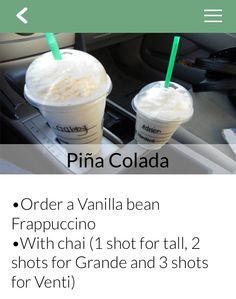 Enjoy the tasty Pìna Colada Frappuccino only on the Secret Menu for Starbucks iPhone app. http://secretmenuapp.com