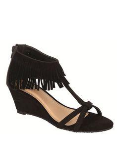 Black Fringed Low Heel Wedge Sandal