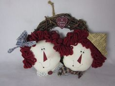 """Vine Wreath with Raggedy Ann and Andy I Love You 6"""" #Unbranded"""