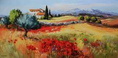 Michel Vezinet Artist Painting, House Painting, House Landscape, Colorful Paintings, Flower Photos, Art Pictures, Provence, Landscape Paintings, Folk Art