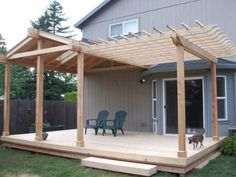 This deck patio roof is half gable and half pergola. This deck patio roof is half gable and half pergola. Diy Pergola, Deck With Pergola, Diy Deck, Outdoor Pergola, Wooden Pergola, Cheap Pergola, Pergola Lighting, Attached Pergola, Pergola Cover