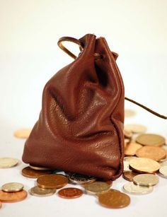 Medieval/Larp/SCA/Pagan/Re enactment Grey Leather DRAWSTRING MONEY ...
