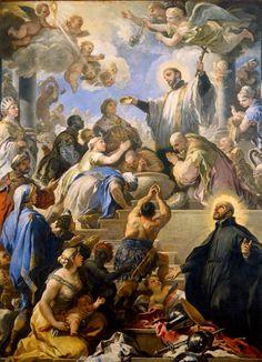 Luca Giordano Saint Francis Xavier Baptizing Proselytes and Saint Francis Borgia Italy (c. 1680s) Oil on Canvas, 421 x 315 cm. Museo di Capodimonte, Naples. [Source]