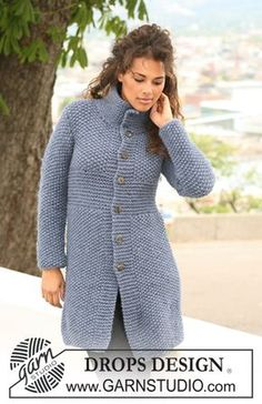 "DROPS 121-26 - Manteau DROPS au point de riz en ""Eskimo"". Du S au XXXL. - Free pattern by DROPS Design"