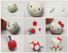 DIY fimo / clay / fondant little Hello Kitty  #howto #tutorial #diy #fimo #clay #fondant #hellokitty
