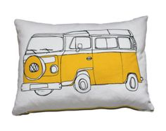 Yellow Camper van Cushion / Pillow