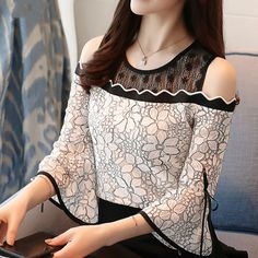 2018 New Summer Women's Fashion Chiffon Stitching Blouse Flare Sleeve Top Lace O-neck blouse Strapless Sexy clothing 30 Sexy Outfits, Fashion Outfits, Womens Fashion, Chiffon Shirt, Lace Chiffon, Altering Clothes, Women's Summer Fashion, Lace Tops, Blouse Designs