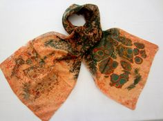 Ebru sanatı ile yapılan ipek şal