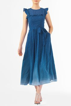 I <3 this Ruffle star print georgette midi dress from eShakti