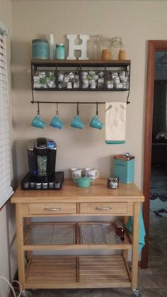Love this idea of having a coffee bar in the kitchen/ breakfast room. Love this idea of having a coffee bar in the kitchen/ breakfast room. New Kitchen, Kitchen Decor, Kitchen Design, Basement Kitchen, Kitchen Dinning, Decorating Kitchen, Kitchen Cart, Room Kitchen, Dining Area