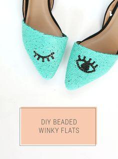 DIY Beaded Shoes - Turquoise Winky Eye Flats | Shrimp Salad Circus