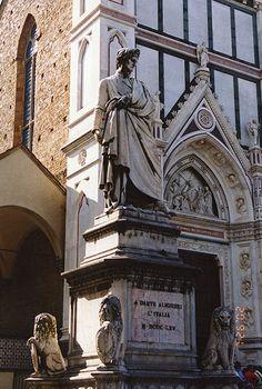 Dante statue outside Santa Croce, Florence, Italy