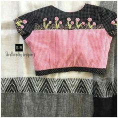 Hand Work Blouse Design, Simple Blouse Designs, Stylish Blouse Design, Saree Blouse Neck Designs, Designer Blouse Patterns, Decoration, January 2018, Thread Work, Embroidery Thread