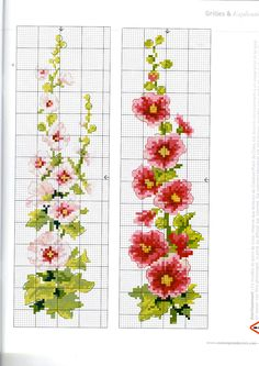 hollyhocks page 2 Cross Stitch Bookmarks, Cross Stitch Books, Cross Stitch Love, Cross Stitch Borders, Counted Cross Stitch Patterns, Cross Stitch Charts, Cross Stitch Designs, Cross Stitching, Cross Stitch Embroidery