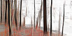 Sabine Wild, wood_0870, 2012 / 2012 © www.lumas.com/ #LumasAbstract,  blurred,  Concept,  Digital,  Digital Art,  Forest,  Forests,  graphic,  Landscape,  Nature,  Photography,  red,  smudged,  Snow,  snowy,  Tree,  tree trunk,  tree trunks,  Trees,  Trunk,  Trunks,  white,  Winter