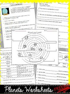 FREEBIE - Planets Worksheets Perfect for my space lesson!!