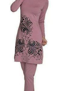 Lovely Muslim Swimwears Women Moon Stars Printed Swimwear Contrast Color Swimsuits Hooded Hijab Maillot De Bain Femme Musulman Activity & Gear Mother & Kids