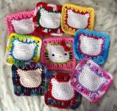 Hello kitty crochet squares.