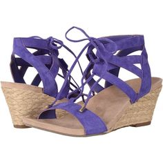 VIONIC Noble Tansy (Purple) Women's Wedge Shoes (£110) ❤ liked on Polyvore featuring shoes, sandals, mid heel wedge sandals, lace-up sandals, strap wedge sandals, purple wedge shoes and vionic shoes