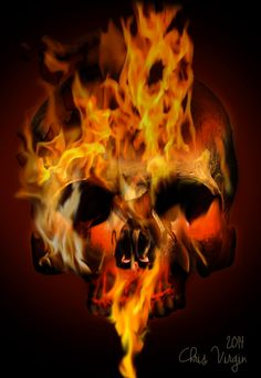 Flaming Skull by Webgraphink