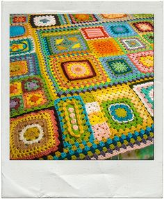 She crocheted a different granny sqare a day for a year and then combined all 365 into a blanket. Awesome!