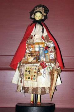 19th English Grodnertal wooden peddler doll