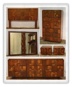 Lane Walnut 6 Pc Brutalist Bedroom Set Suite Mid Century Modern