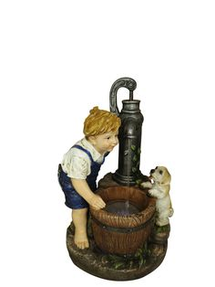 Boy and Water Pump Fountain with LED Lights from Alpine