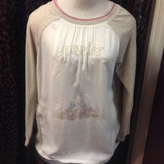 """Nordstrom KUT from the Kloth top. Size lg. Kut from the Kloth, 100% cotton, long sleeve tee shirt fabric, entire front is rayon, white with the Eiffel Tower, beads, Paris in gold threads. Measures approx. 28"""" in length. Kut from the Kloth Tops Tees - Long Sleeve"""