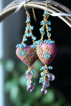 Gorgeous mauve pinkblue and gold clay abstract by Peelirohini