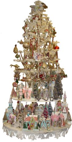 Christmas village display with miniature Putz glitter houses Shabby Chic Christmas, Noel Christmas, Victorian Christmas, Pink Christmas, All Things Christmas, Vintage Christmas, Christmas Crafts, Christmas Decorations, Christmas Ornaments