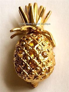 Gold Yellow Crystal Pineapple Pin Brooch Hawaiian Island Beach USA Seller #LaurenSpencer