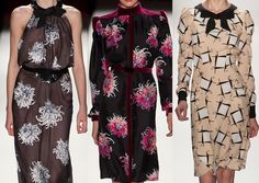 Carolina Herrera A/W 2013-  Spacial Pattern Layouts - Flowing Silk Prints – Glamorous Blooms – Stylised Chrysanthemum – Large Midsize Florals