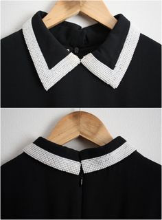Vintage White Pearls Collared Black Dress Size by PARASOLvintage