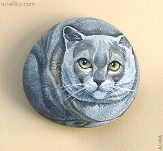 painted rocks: burmese cat  by Alika
