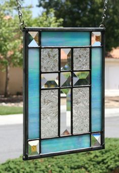 LITTLE CROSS  Contemporary Stained Glass Window by gallerydelsol.....I have one almost like this (just different colors)....but I love the blue in this one!