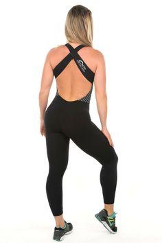 Dani Banani Moda Fitness - macacao-cruzado-preto-e-poa produto 3100 macacao
