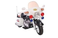 12V Police Motorcycle (615266008754) 2 forward speeds (2.5  and 5.0 MPH) and 1 reverse (2.5 MPH) Hand accelerator,  Headlight, Harzard and Signal lights Weight capacity of the vehicle is 110 pounds and storage at the back Sideview mirrors, Chrome detail 12V rechargeable battery and charger are included