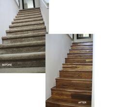 This small unique change can transform your staircase from old, dirty carpet to beautiful, warm natural hardwood.  In most homes your stairs are the biggest traffic area and with this stunning San Diego home update it will be much easier to keep looking fresh.  These Beautiful natural Acacia Hardwood Floors in Carlsbad are the perfect inspiration to spruce up your home with a new look. Flooring For Stairs, Hardwood Stairs, Carpet Flooring, Hardwood Floors, Acacia Hardwood Flooring, San Diego Houses, House Stairs, Hallways, Home Projects