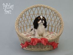 Dollhouse Miniature English Toy Spaniel by Paizley Pawz *OOAK Dog