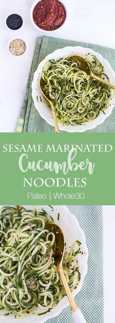 Sesame Marinated Cucumber Noodles | paleo recipes | Whole30 recipes | cucumber recipes | side dish recipes | potluck recipes | perrysplate.com