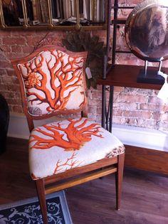 Georgian Chair updated with Bold Coral Fabric orange Sea Coral Decor, Fan Image, Coral Fabric, Sea Theme, Moorish, Curtain Fabric, House Projects, Wingback Chair, Georgian