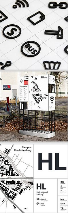 DIN Wayfinding project, Campus Charlottenburg, Berlin. Click image for full profile and visit the slowottawa.ca boards >> https://www.pinterest.com/slowottawa/boards