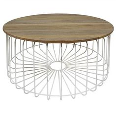 Arrell Timber and Metal Round Coffee Table - White White Round Coffee Table, Large Coffee Tables, Cheap Furniture, Sweet Home, Dining, Metal, Wood, Home Decor, Living Room