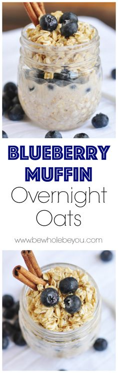 (Butter Substitute For Bread) Blueberry Muffin Overnight Oats. (Butter Substitute For Bread) What's For Breakfast, Breakfast Dishes, Healthy Breakfast Recipes, Overnight Oatmeal, Blueberry Overnight Oats, Healthy Overnight Oats, Mason Jar Meals, Oatmeal Recipes, Blue Berry Muffins