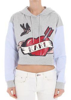 Karl Lagerfeld Captain Karl Crop Sweatshirt Gray Grey Fashion, Grey Sweatshirt, Karl Lagerfeld, Mall, Valentino, Nike Air, Crop Tops, Gray, Sweatshirts