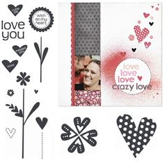 """Close to My Heart My Acrylix Stamp Set Affection  Set of 15  Recommended My Acrylix® Blocks:  1"""" × 1"""" (Y1000), 2"""" × 2"""" (Y1003), 2"""" × 3 ½"""" (Y1009)    Stamp images outlined in red coordinate with the Cricut® Art Philosophy collection (Z1686).    $13.95"""