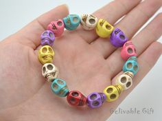 Colorful skull bead bracelet,the day of death