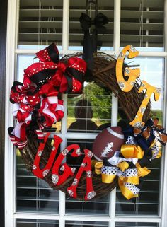 UGA and GA TECH House Divided College Football Wreath - by Sonya Delaney http://www.delaneygallery.com